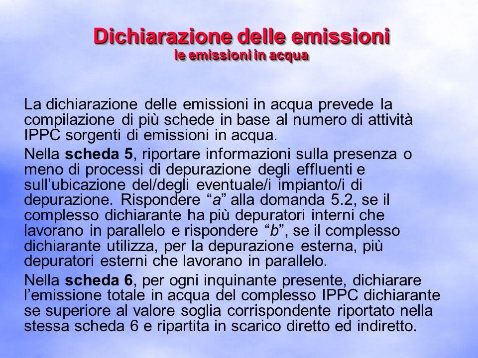 La dichiarazione delle emissioni in acqua prevede la compilazione di più schede in base al numero di attività IPPC sorgenti di emissioni in acqua.