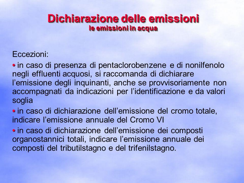Eccezioni: in caso di presenza di pentaclorobenzene e di nonilfenolo negli effluenti acquosi, si raccomanda di dichiarare l'emissione degli inquinanti, anche se provvisoriamente non accompagnati da indicazioni per l'identificazione e da valori soglia in caso di dichiarazione dell'emissione del cromo totale, indicare l'emissione annuale del Cromo VI in caso di dichiarazione dell'emissione dei composti organostannici totali, indicare l'emissione annuale dei composti del tributilstagno e del trifenilstagno.