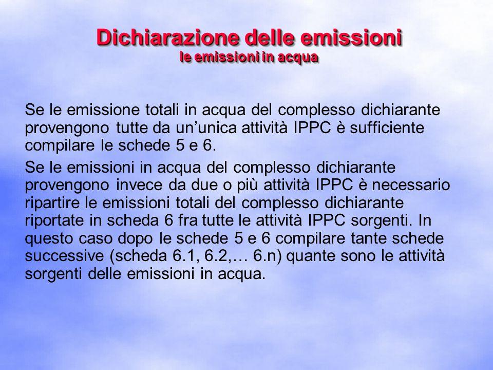Se le emissione totali in acqua del complesso dichiarante provengono tutte da un'unica attività IPPC è sufficiente compilare le schede 5 e 6.