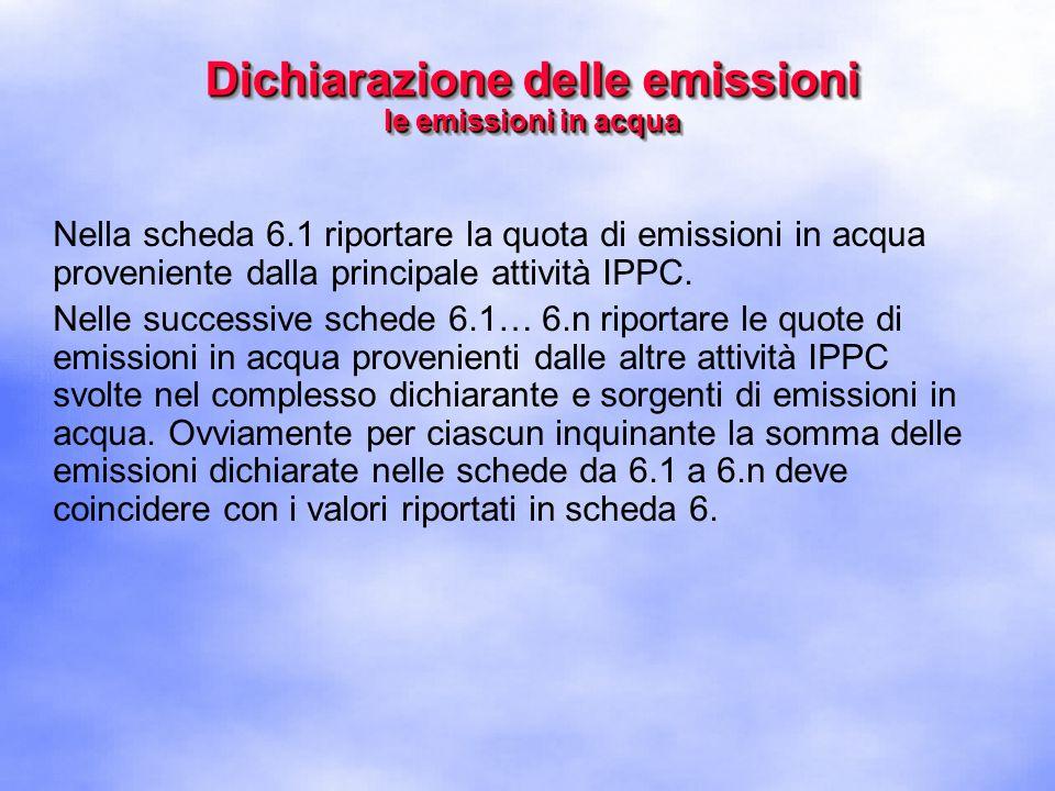 Nella scheda 6.1 riportare la quota di emissioni in acqua proveniente dalla principale attività IPPC.