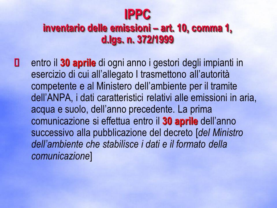 IPPC inventario delle emissioni – art. 10, comma 1, d.lgs.