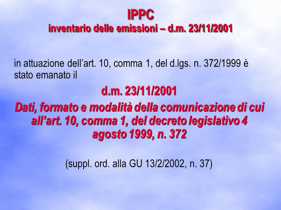IPPC inventario delle emissioni – d.m. 23/11/2001 in attuazione dell'art.