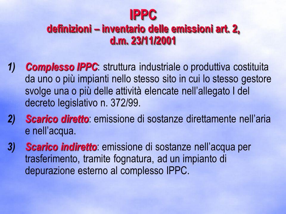 IPPC definizioni – inventario delle emissioni art.