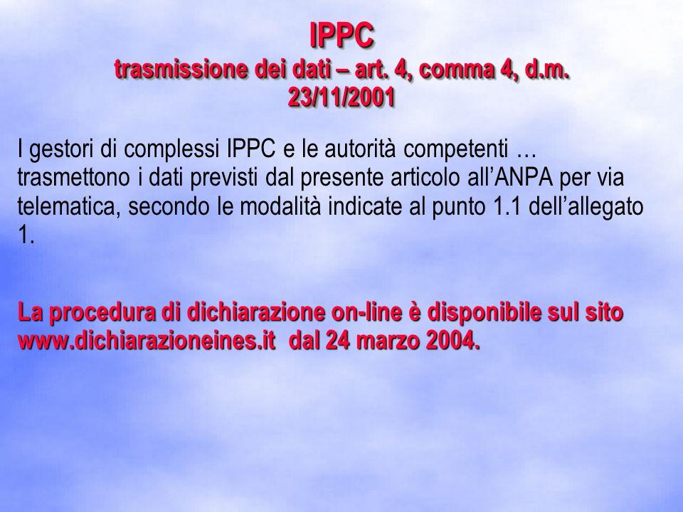 IPPC trasmissione dei dati – art. 4, comma 4, d.m.