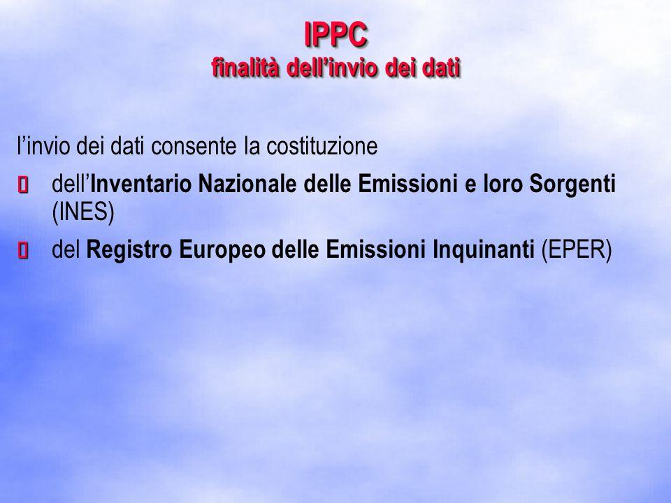 IPPC finalità dell'invio dei dati l'invio dei dati consente la costituzione   dell' Inventario Nazionale delle Emissioni e loro Sorgenti (INES)   del Registro Europeo delle Emissioni Inquinanti (EPER)