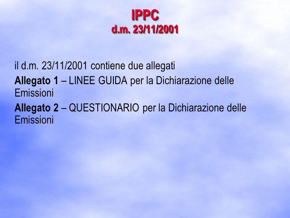 IPPC d.m. 23/11/2001 il d.m.