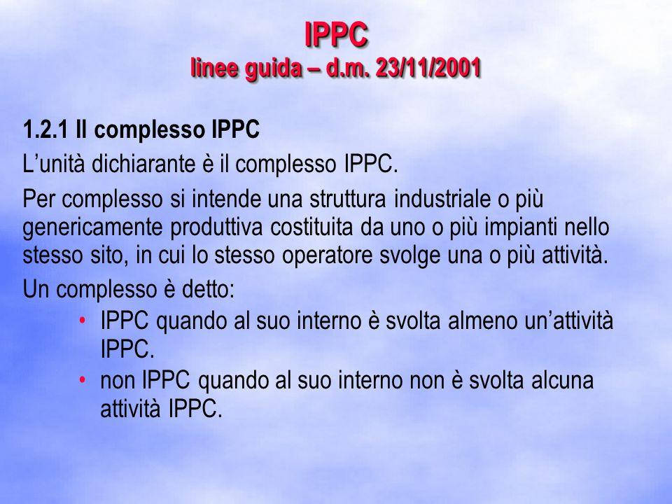 IPPC linee guida – d.m. 23/11/2001 1.2.1 Il complesso IPPC L'unità dichiarante è il complesso IPPC.