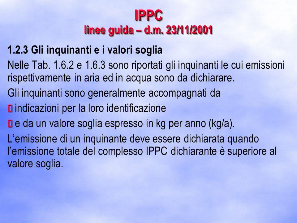 IPPC linee guida – d.m. 23/11/2001 1.2.3 Gli inquinanti e i valori soglia Nelle Tab.