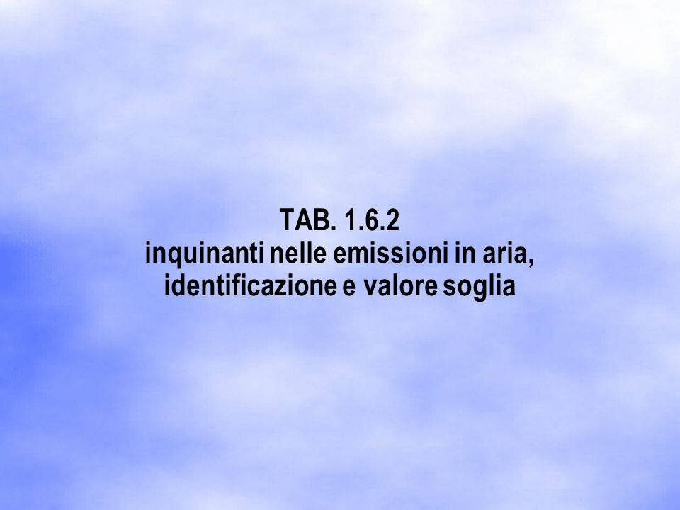 TAB. 1.6.2 inquinanti nelle emissioni in aria, identificazione e valore soglia
