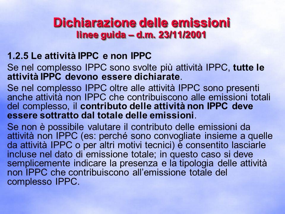 1.2.5 Le attività IPPC e non IPPC Se nel complesso IPPC sono svolte più attività IPPC, tutte le attività IPPC devono essere dichiarate.