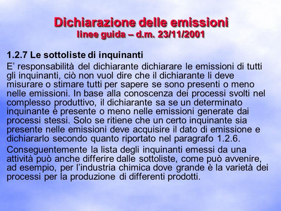 1.2.7 Le sottoliste di inquinanti E' responsabilità del dichiarante dichiarare le emissioni di tutti gli inquinanti, ciò non vuol dire che il dichiarante li deve misurare o stimare tutti per sapere se sono presenti o meno nelle emissioni.