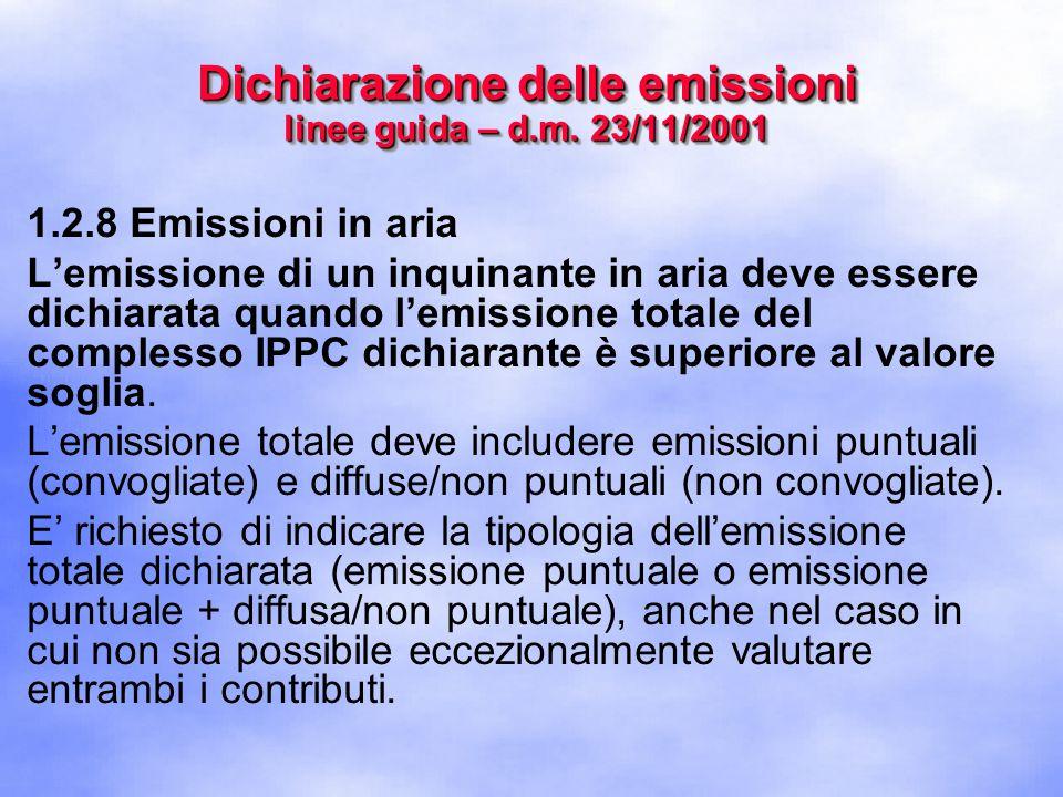 1.2.8 Emissioni in aria L'emissione di un inquinante in aria deve essere dichiarata quando l'emissione totale del complesso IPPC dichiarante è superiore al valore soglia.