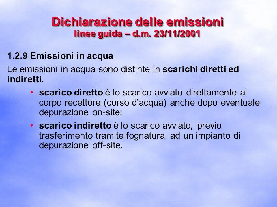 1.2.9 Emissioni in acqua Le emissioni in acqua sono distinte in scarichi diretti ed indiretti.