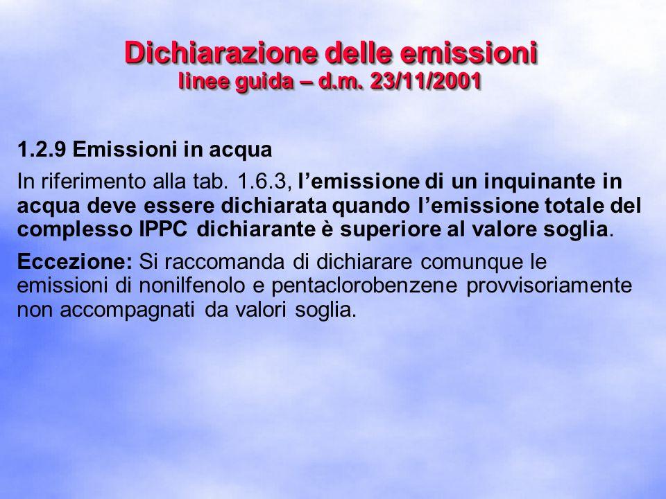 1.2.9 Emissioni in acqua In riferimento alla tab.