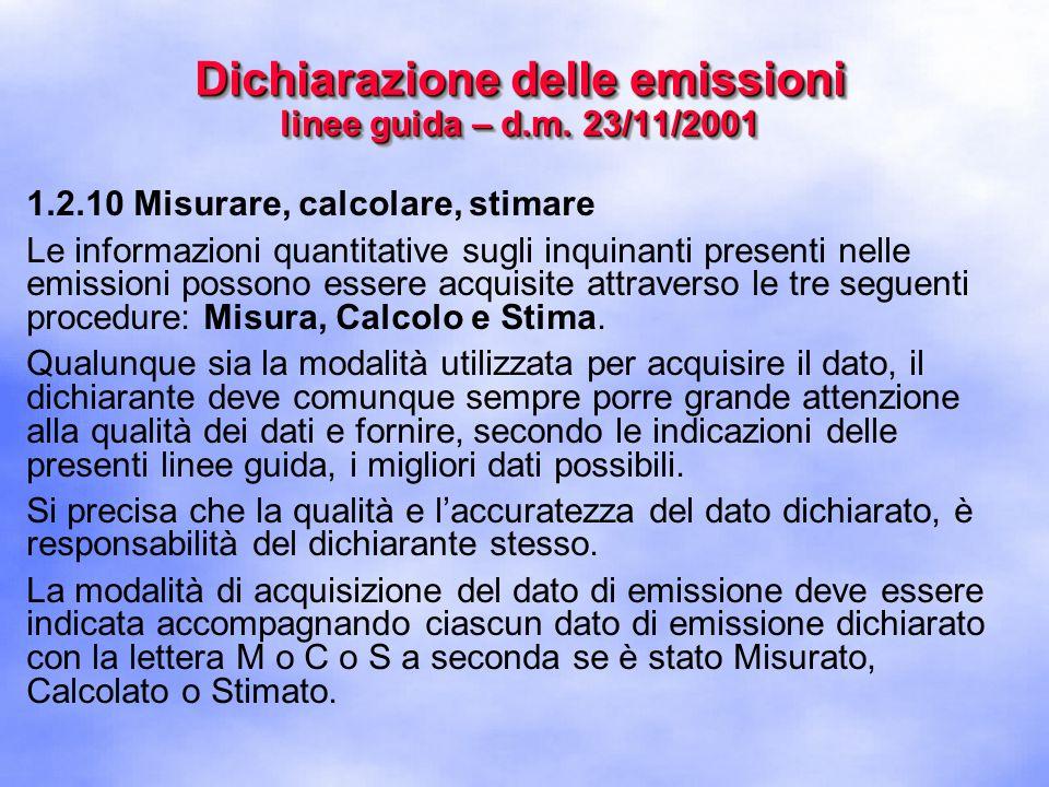 1.2.10 Misurare, calcolare, stimare Le informazioni quantitative sugli inquinanti presenti nelle emissioni possono essere acquisite attraverso le tre seguenti procedure: Misura, Calcolo e Stima.
