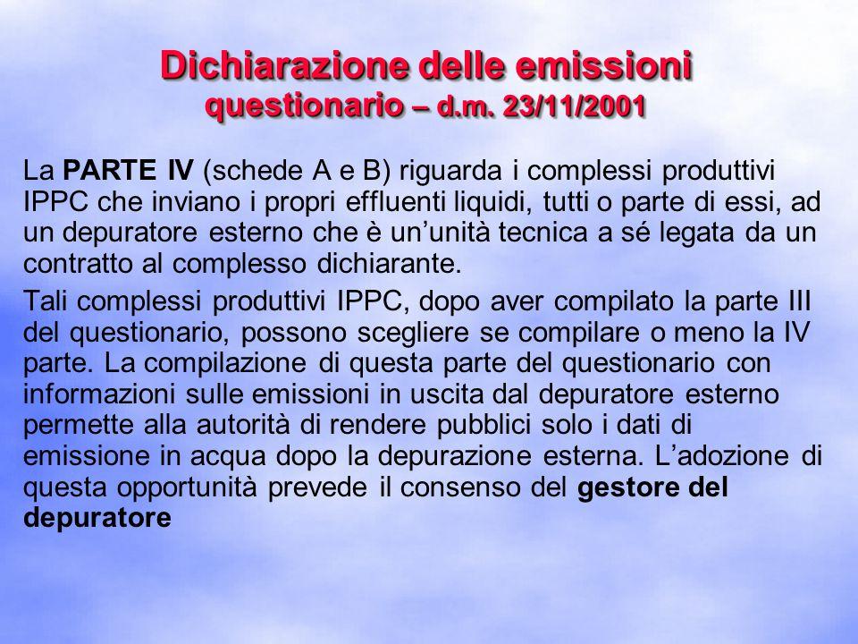 La PARTE IV (schede A e B) riguarda i complessi produttivi IPPC che inviano i propri effluenti liquidi, tutti o parte di essi, ad un depuratore esterno che è un'unità tecnica a sé legata da un contratto al complesso dichiarante.