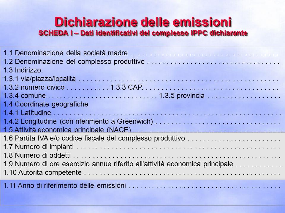 Dichiarazione delle emissioni SCHEDA I – Dati identificativi del complesso IPPC dichiarante 1.1 Denominazione della società madre......................................