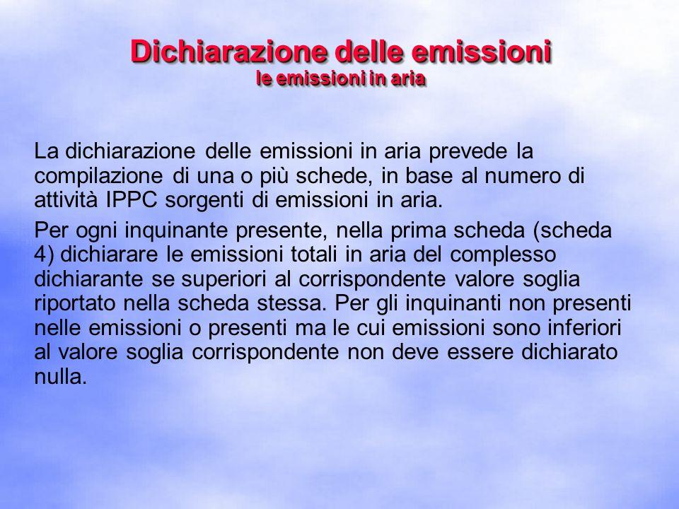 La dichiarazione delle emissioni in aria prevede la compilazione di una o più schede, in base al numero di attività IPPC sorgenti di emissioni in aria.