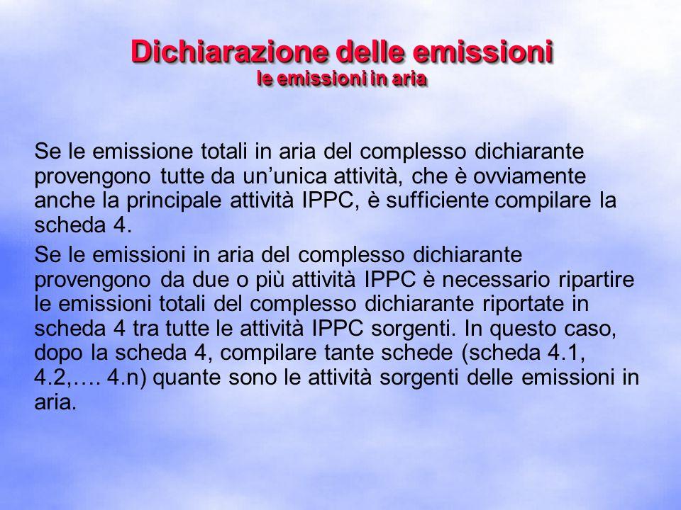 Se le emissione totali in aria del complesso dichiarante provengono tutte da un'unica attività, che è ovviamente anche la principale attività IPPC, è sufficiente compilare la scheda 4.