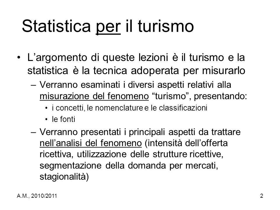 A.M., 2010/20112 Statistica per il turismo L'argomento di queste lezioni è il turismo e la statistica è la tecnica adoperata per misurarlo –Verranno e