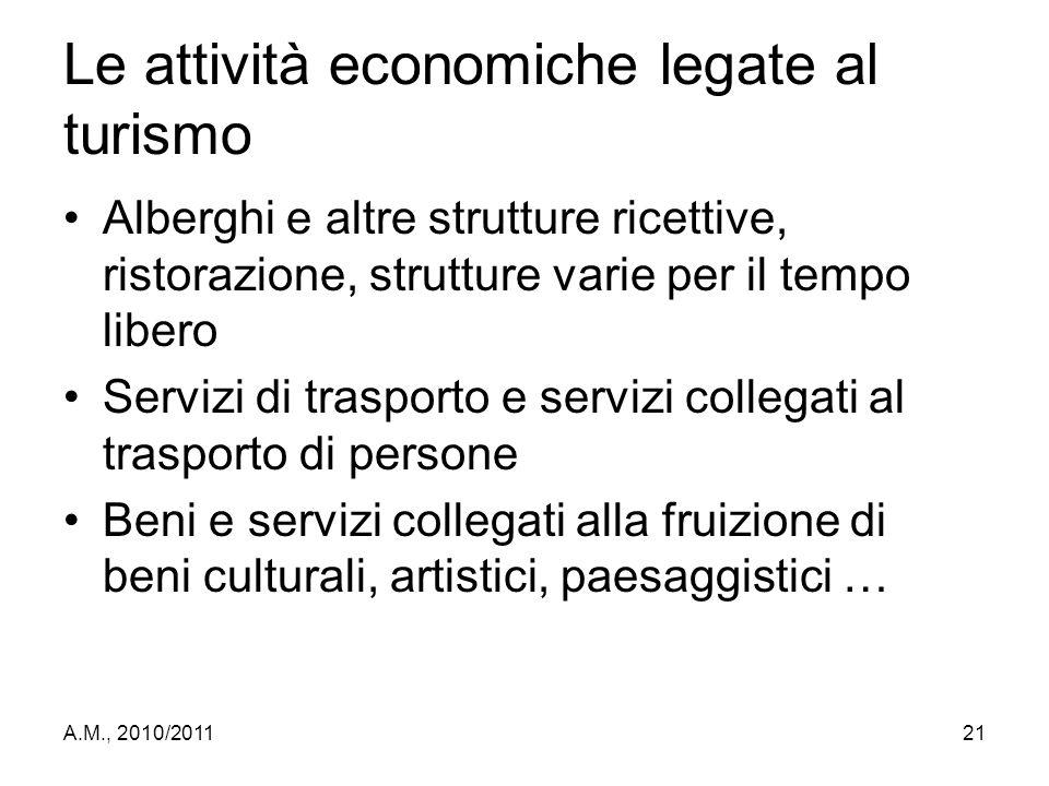 A.M., 2010/201121 Le attività economiche legate al turismo Alberghi e altre strutture ricettive, ristorazione, strutture varie per il tempo libero Ser