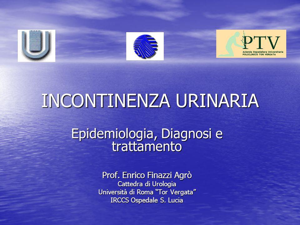 FATTORI PREDISPONENTI GRAVIDANZA GRAVIDANZA PARTI PARTI INVECCHIAMENTO (ETA') INVECCHIAMENTO (ETA') OBESITA' OBESITA' FATTORI determinanti incremento della pressione addominale (BPCO, stipsi etc) FATTORI determinanti incremento della pressione addominale (BPCO, stipsi etc) MENOPAUSA MENOPAUSA CHIRURGIA (pelvica, uterina, uretrale, endoscopica) CHIRURGIA (pelvica, uterina, uretrale, endoscopica)