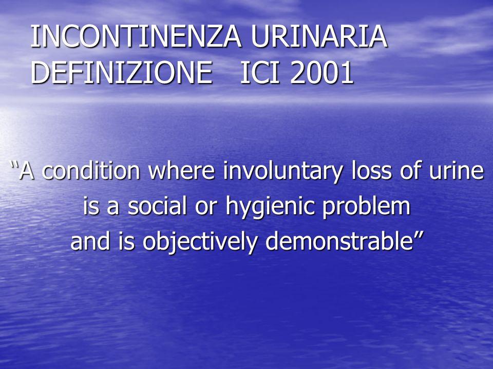Incontinenza urinaria Forme di incontinenza Da urgenza ( urge incontinence ) Da urgenza ( urge incontinence ) Da sforzo ( stress incontinence ) Da sforzo ( stress incontinence ) Da rigurgito ( overflow incontinence ) Da rigurgito ( overflow incontinence )