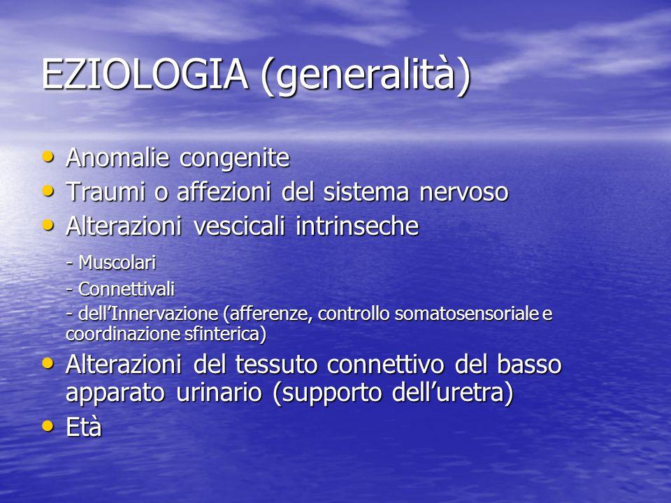 EZIOLOGIA (generalità) Anomalie congenite Anomalie congenite Traumi o affezioni del sistema nervoso Traumi o affezioni del sistema nervoso Alterazioni