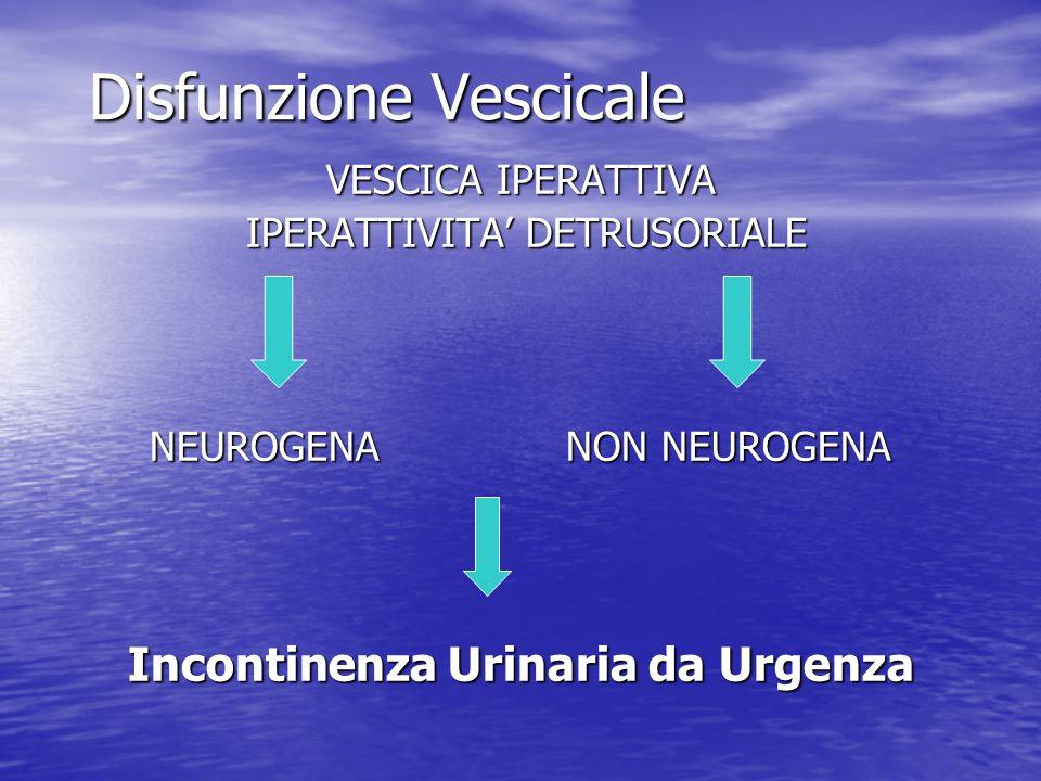 Disfunzione Vescicale VESCICA IPERATTIVA IPERATTIVITA' DETRUSORIALE IPERATTIVITA' DETRUSORIALE NEUROGENA NON NEUROGENA Incontinenza Urinaria da Urgenz