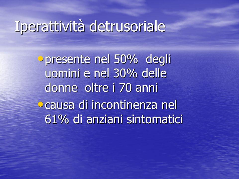 Iperattività detrusoriale presente nel 50% degli uomini e nel 30% delle donne oltre i 70 anni presente nel 50% degli uomini e nel 30% delle donne oltr
