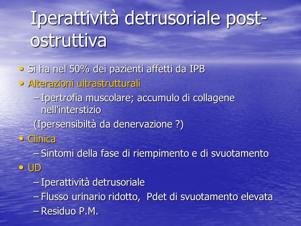 Iperattività detrusoriale post- ostruttiva Si ha nel 50% dei pazienti affetti da IPB Si ha nel 50% dei pazienti affetti da IPB Alterazioni ultrastrutt
