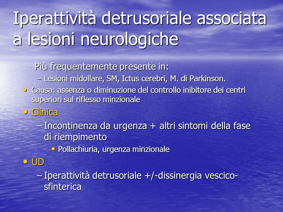 Iperattività detrusoriale associata a lesioni neurologiche Più frequentemente presente in: Più frequentemente presente in: –Lesioni midollare, SM, Ict