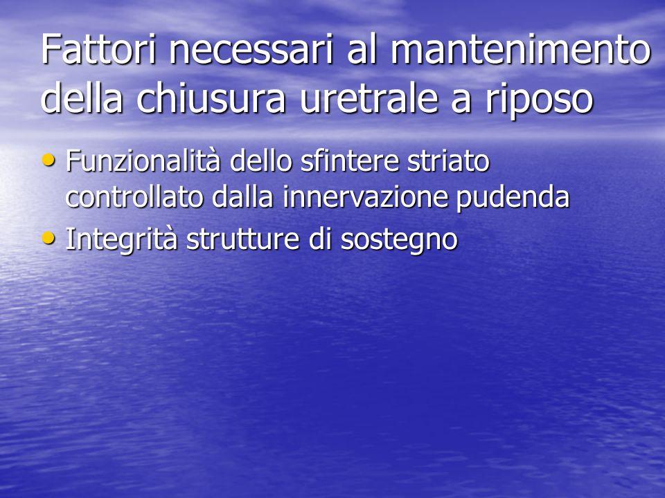 Fattori necessari al mantenimento della chiusura uretrale a riposo Funzionalità dello sfintere striato controllato dalla innervazione pudenda Funziona