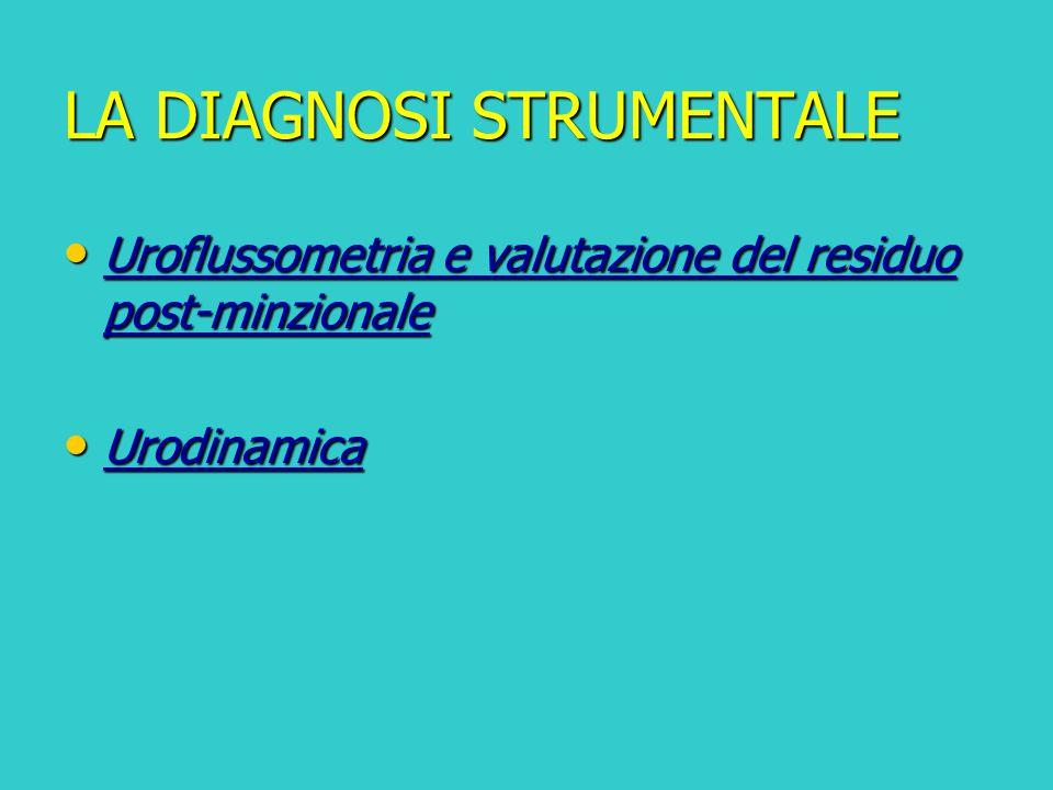 LA DIAGNOSI STRUMENTALE Uroflussometria e valutazione del residuo post-minzionale Uroflussometria e valutazione del residuo post-minzionale Urodinamic