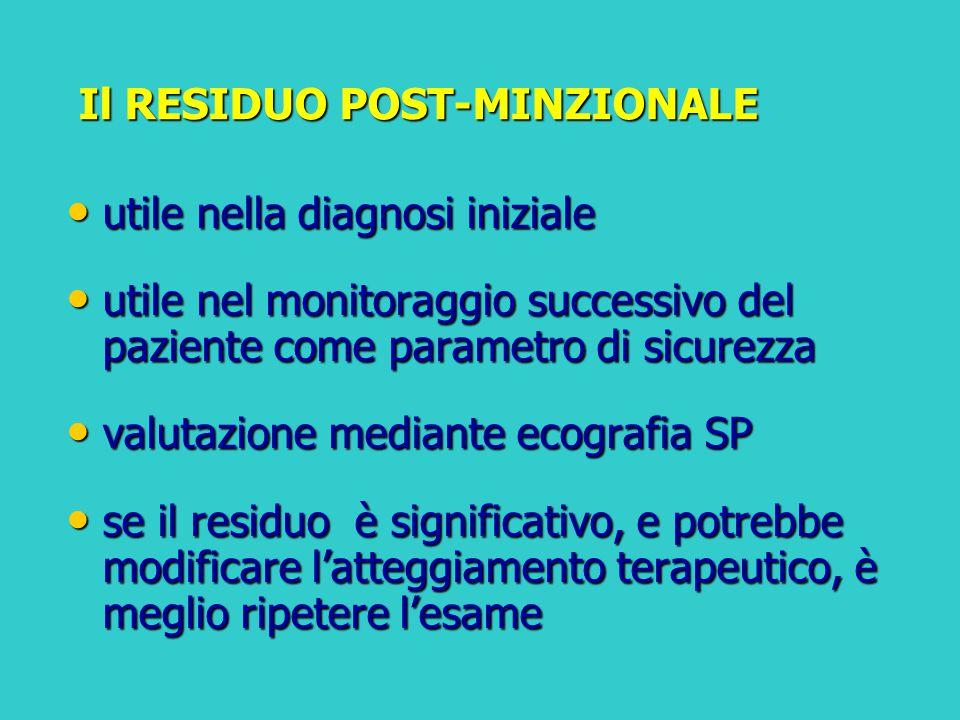 Il RESIDUO POST-MINZIONALE Il RESIDUO POST-MINZIONALE utile nella diagnosi iniziale utile nella diagnosi iniziale utile nel monitoraggio successivo de