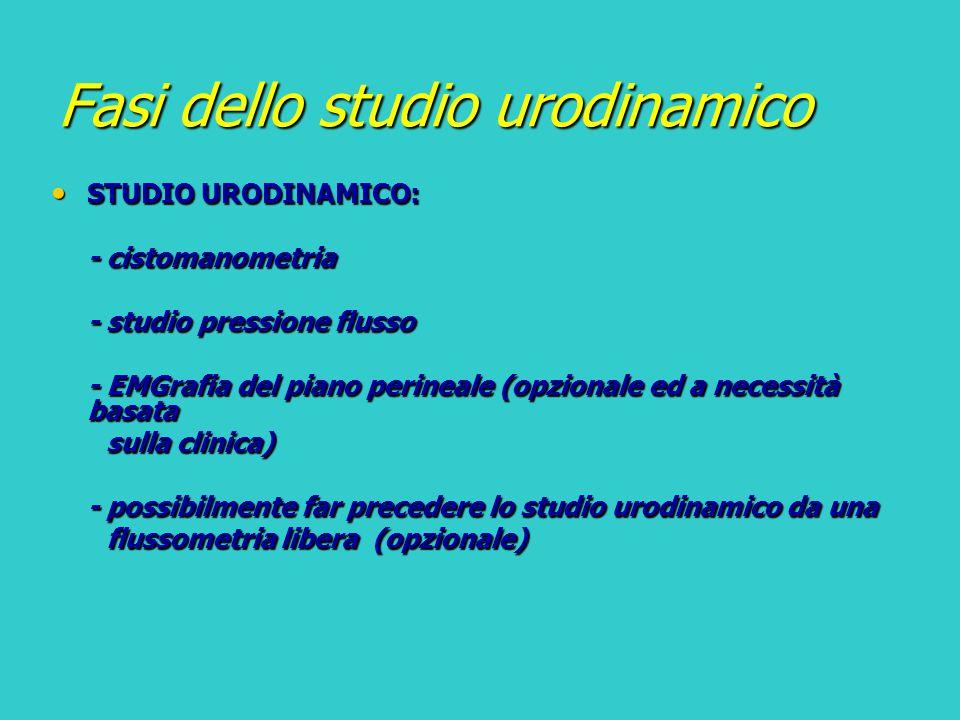 Fasi dello studio urodinamico STUDIO URODINAMICO: STUDIO URODINAMICO: - cistomanometria - studio pressione flusso - EMGrafia del piano perineale (opzi