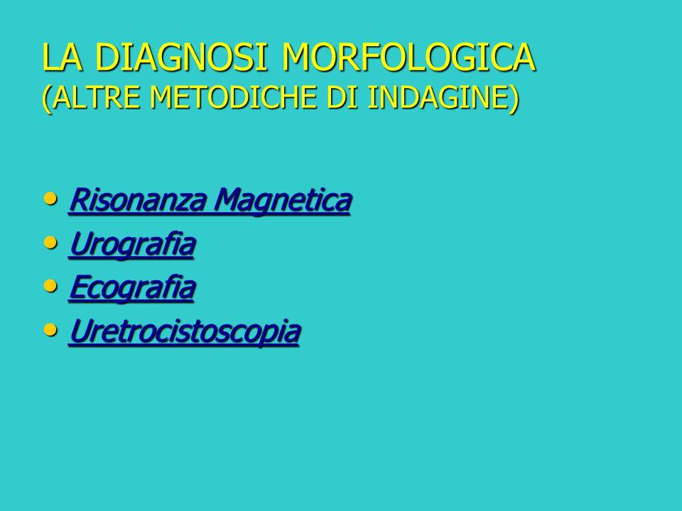 LA DIAGNOSI MORFOLOGICA (ALTRE METODICHE DI INDAGINE) Risonanza Magnetica Risonanza Magnetica Urografia Urografia Ecografia Ecografia Uretrocistoscopi
