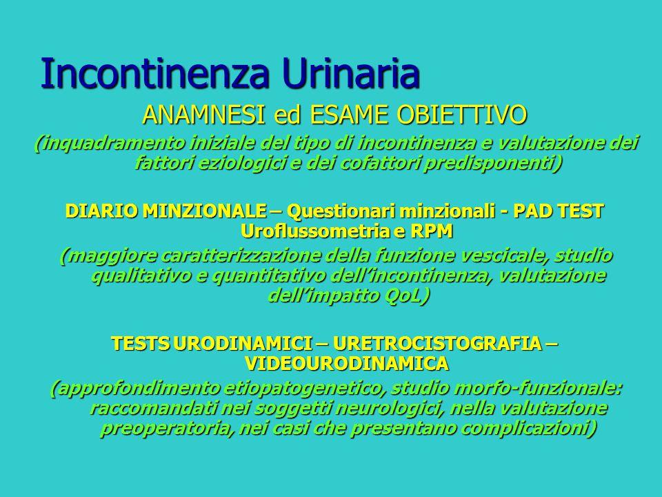 Incontinenza Urinaria ANAMNESI ed ESAME OBIETTIVO (inquadramento iniziale del tipo di incontinenza e valutazione dei fattori eziologici e dei cofattor