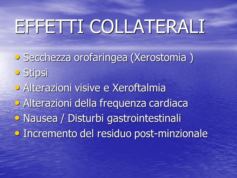 EFFETTI COLLATERALI Secchezza orofaringea (Xerostomia ) Secchezza orofaringea (Xerostomia ) Stipsi Stipsi Alterazioni visive e Xeroftalmia Alterazioni