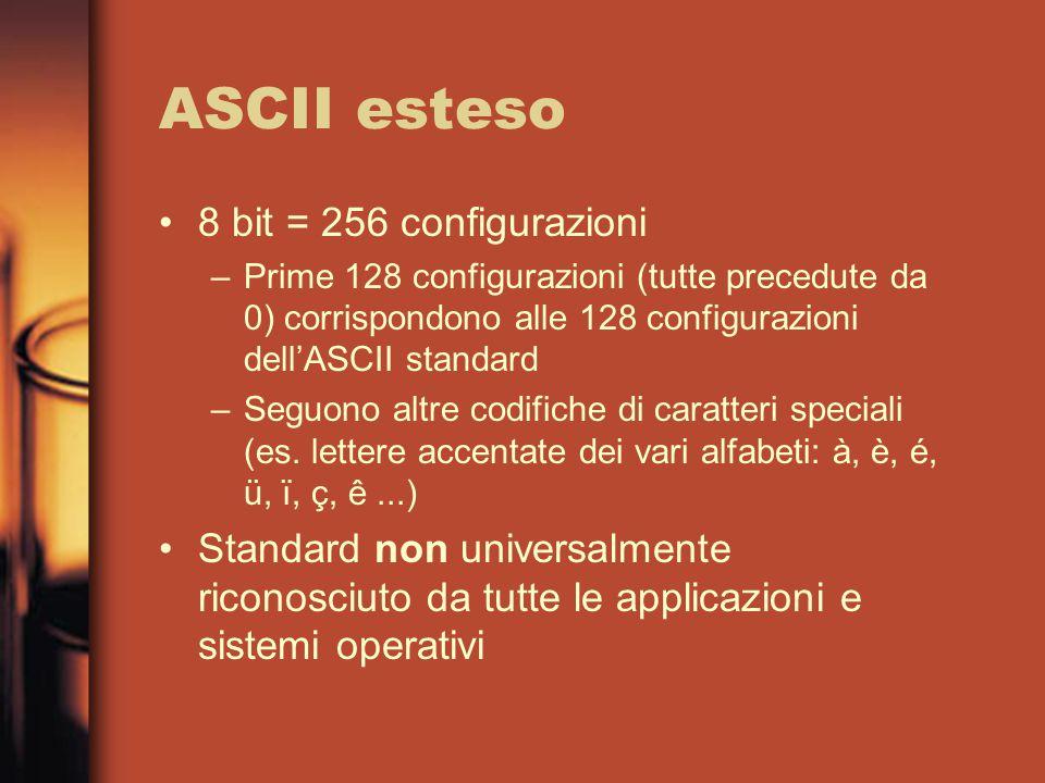 ASCII esteso 8 bit = 256 configurazioni –Prime 128 configurazioni (tutte precedute da 0) corrispondono alle 128 configurazioni dell'ASCII standard –Seguono altre codifiche di caratteri speciali (es.