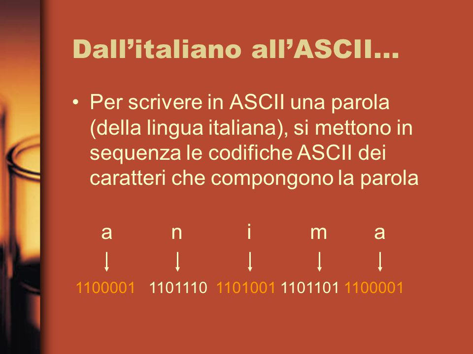 Dall'italiano all'ASCII...