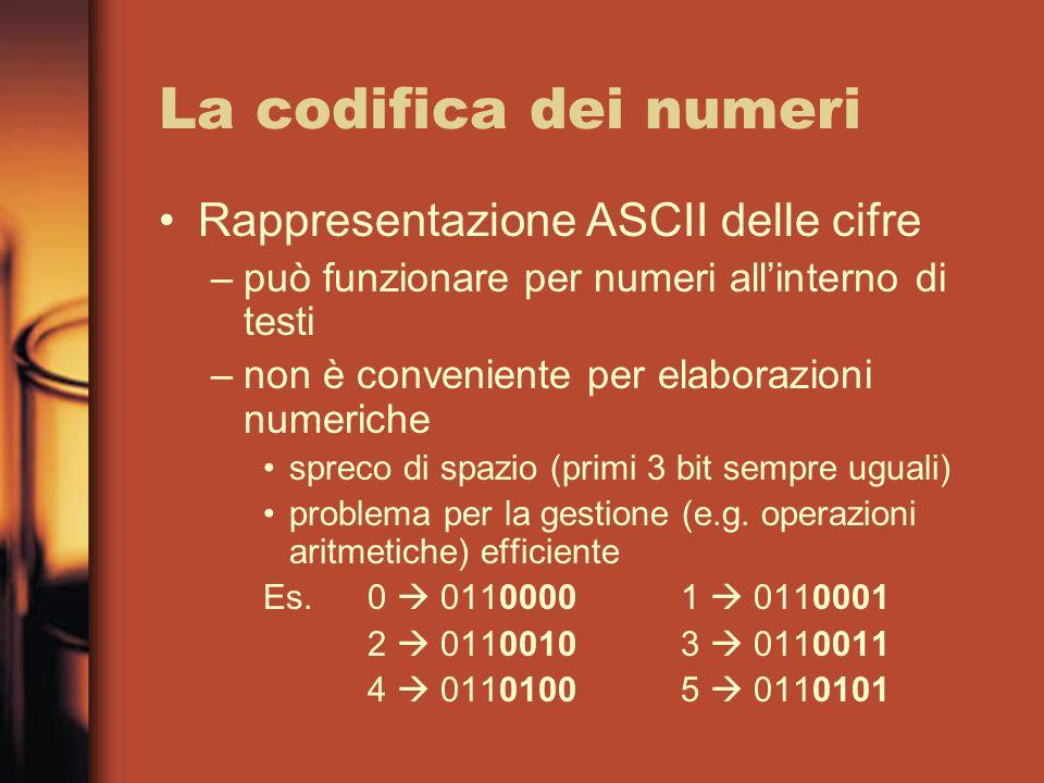 La codifica dei numeri Rappresentazione ASCII delle cifre –può funzionare per numeri all'interno di testi –non è conveniente per elaborazioni numeriche spreco di spazio (primi 3 bit sempre uguali) problema per la gestione (e.g.