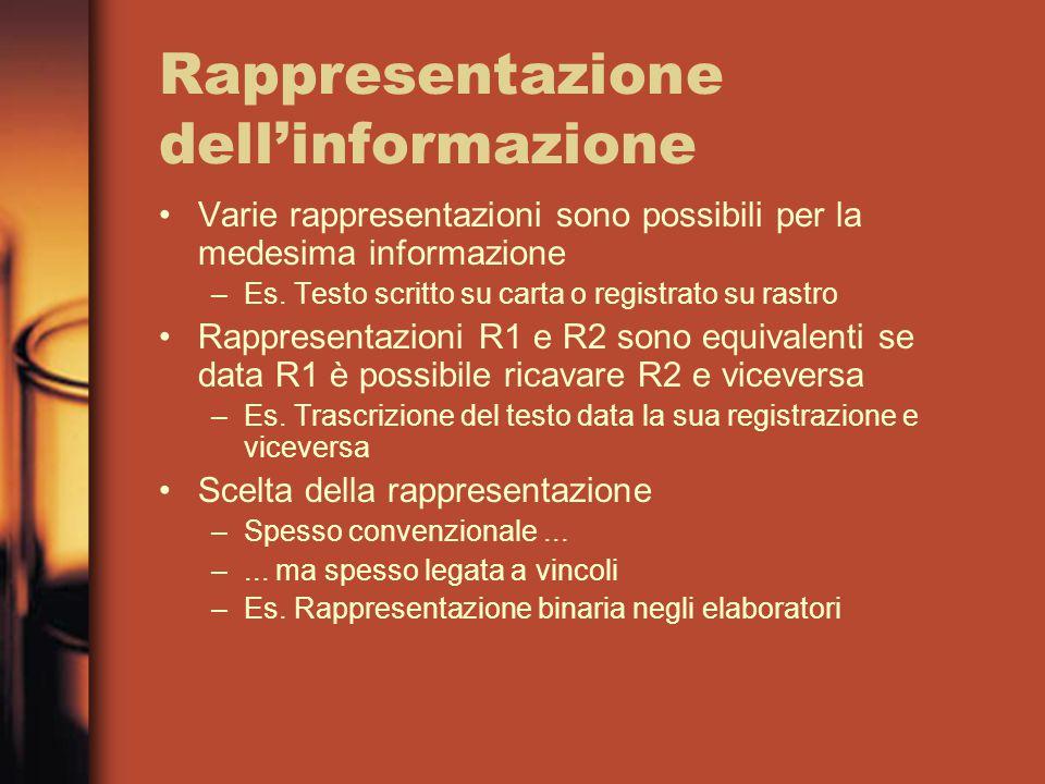Rappresentazione dell'informazione Varie rappresentazioni sono possibili per la medesima informazione –Es.