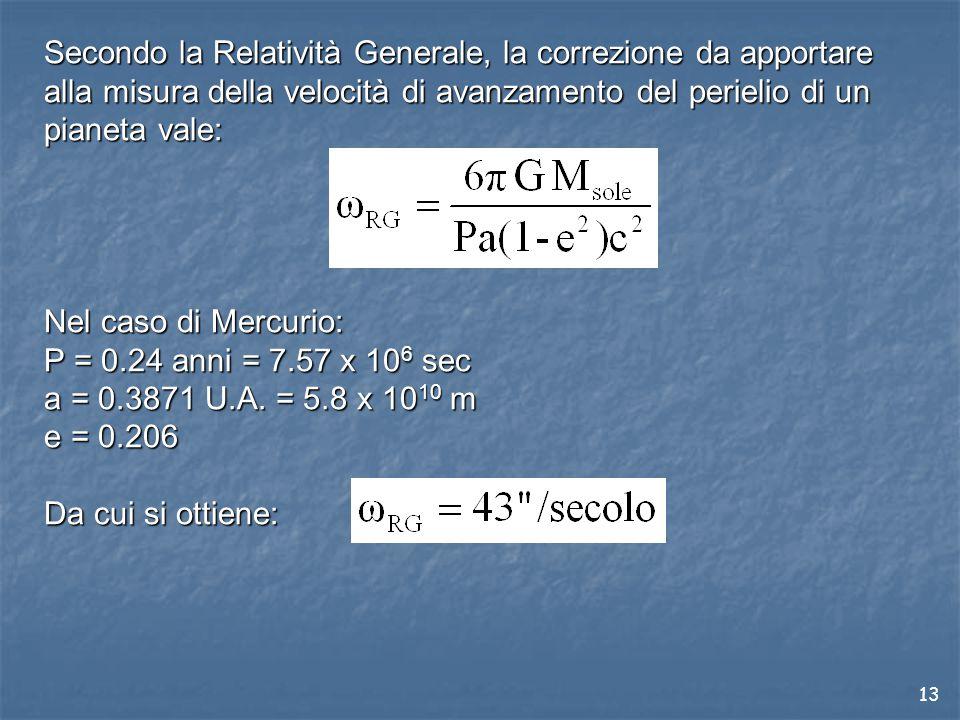 13 Secondo la Relatività Generale, la correzione da apportare alla misura della velocità di avanzamento del perielio di un pianeta vale: Nel caso di Mercurio: P = 0.24 anni = 7.57 x 10 6 sec a = 0.3871 U.A.