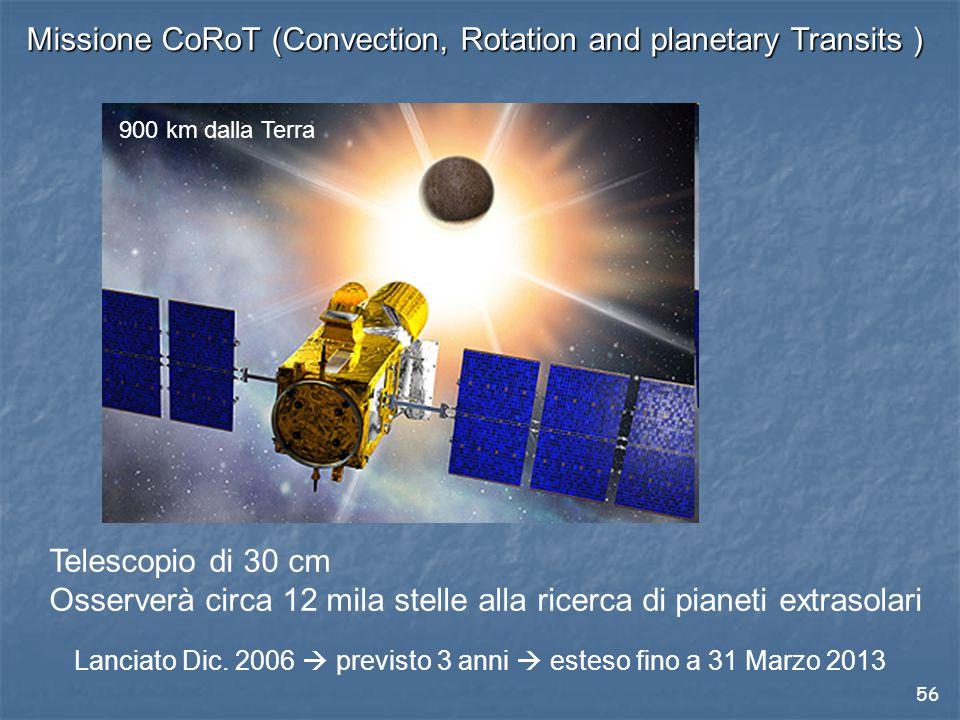 56 Missione CoRoT (Convection, Rotation and planetary Transits ) Telescopio di 30 cm Osserverà circa 12 mila stelle alla ricerca di pianeti extrasolari Lanciato Dic.
