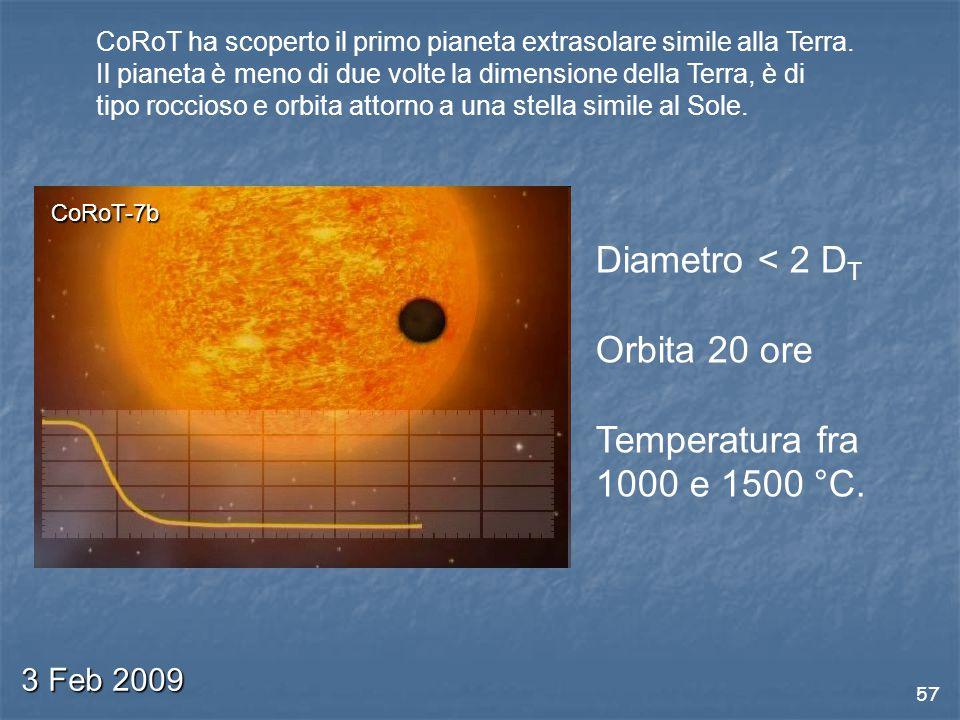 57 3 Feb 2009 CoRoT ha scoperto il primo pianeta extrasolare simile alla Terra.