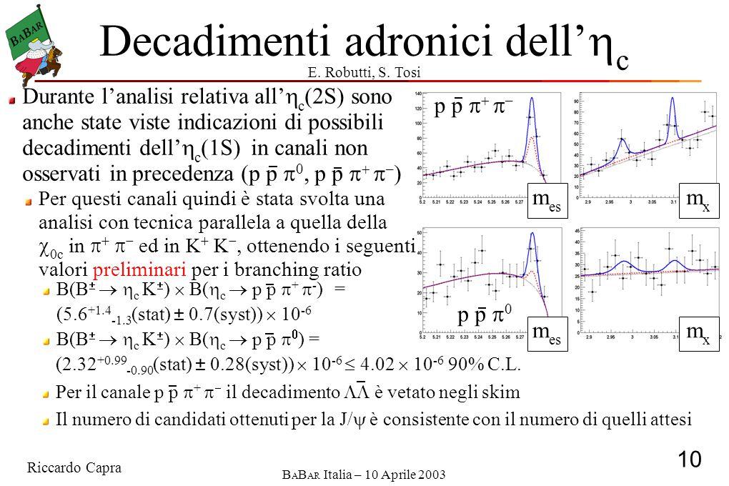 Riccardo Capra 10 B A B AR Italia – 10 Aprile 2003 p p  0 p p    – Decadimenti adronici dell'  c (2.32 +0.99 -0.90 (stat) ± 0.28(syst))  10 -6  4.02  10 -6 90% C.L.