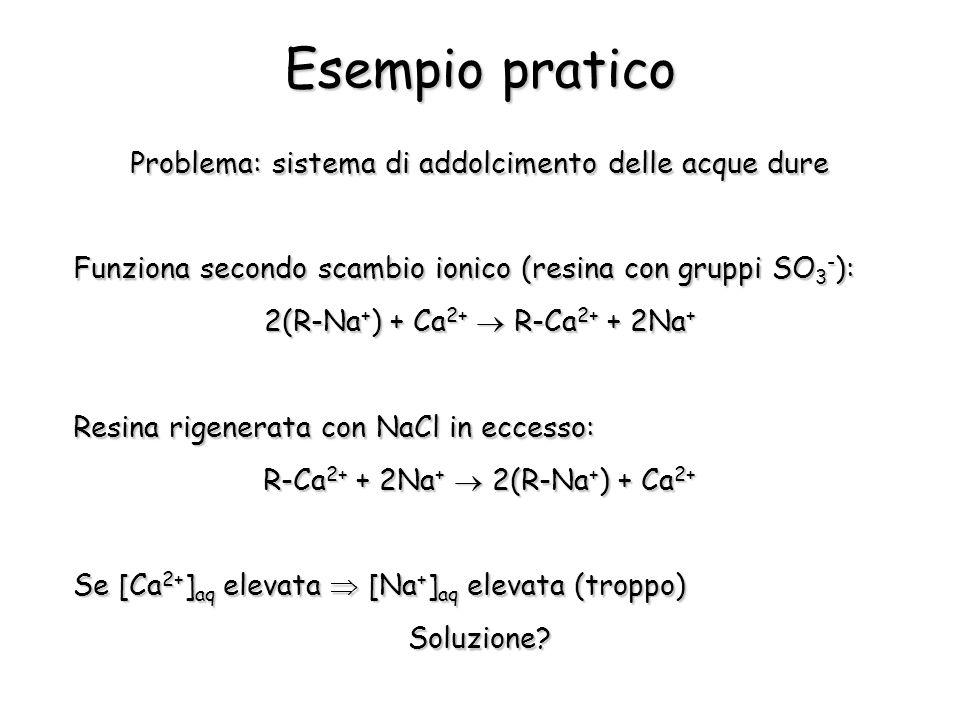 Esempio pratico Problema: sistema di addolcimento delle acque dure Funziona secondo scambio ionico (resina con gruppi SO 3 - ): 2(R-Na + ) + Ca 2+  R-Ca 2+ + 2Na + Resina rigenerata con NaCl in eccesso: R-Ca 2+ + 2Na +  2(R-Na + ) + Ca 2+ Se [Ca 2+ ] aq elevata  [Na + ] aq elevata (troppo) Soluzione
