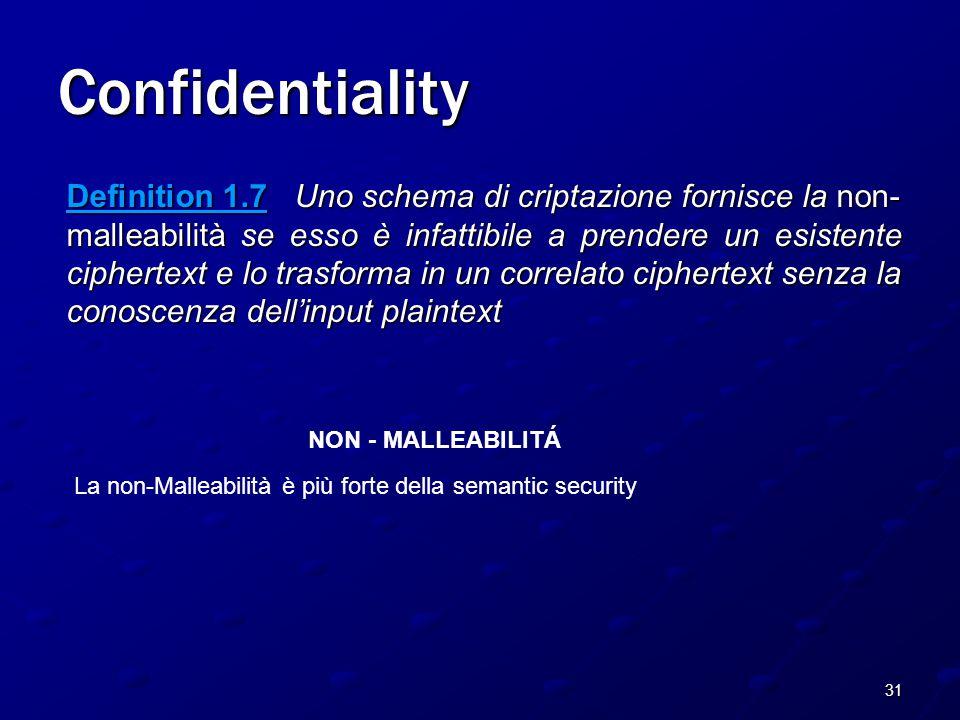 31 Confidentiality Definition 1.7 Uno schema di criptazione fornisce la non- malleabilità se esso è infattibile a prendere un esistente ciphertext e lo trasforma in un correlato ciphertext senza la conoscenza dell'input plaintext NON - MALLEABILITÁ La non-Malleabilità è più forte della semantic security