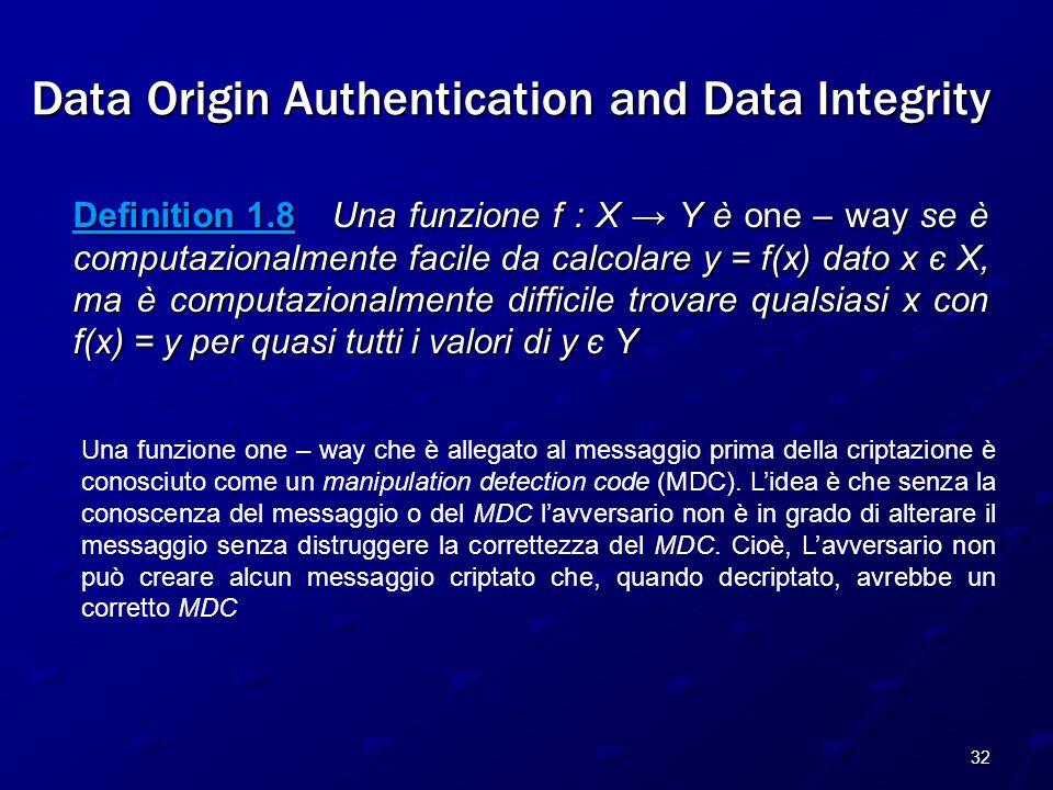 32 Data Origin Authentication and Data Integrity Definition 1.8 Una funzione f : X → Y è one – way se è computazionalmente facile da calcolare y = f(x) dato x є X, ma è computazionalmente difficile trovare qualsiasi x con f(x) = y per quasi tutti i valori di y є Y Una funzione one – way che è allegato al messaggio prima della criptazione è conosciuto come un manipulation detection code (MDC).